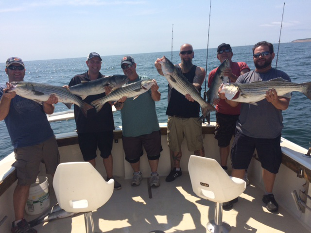 Aces Wild Rhode Island Fishing Charter Brings in 9 Striped Bass and 2 Blues